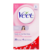 Veet Facial Ready-to-Use Wax Strips x20 & Perfect Finish Wipes x4