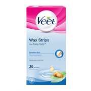 Veet EasyGrip Ready-to-Use Wax Strips x20 & Perfect Finish Wipes x4 - Sensitive Skin