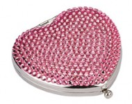 Jennifer Ulisse Light Pink Heart Swarovski Crystal Mirror Compact